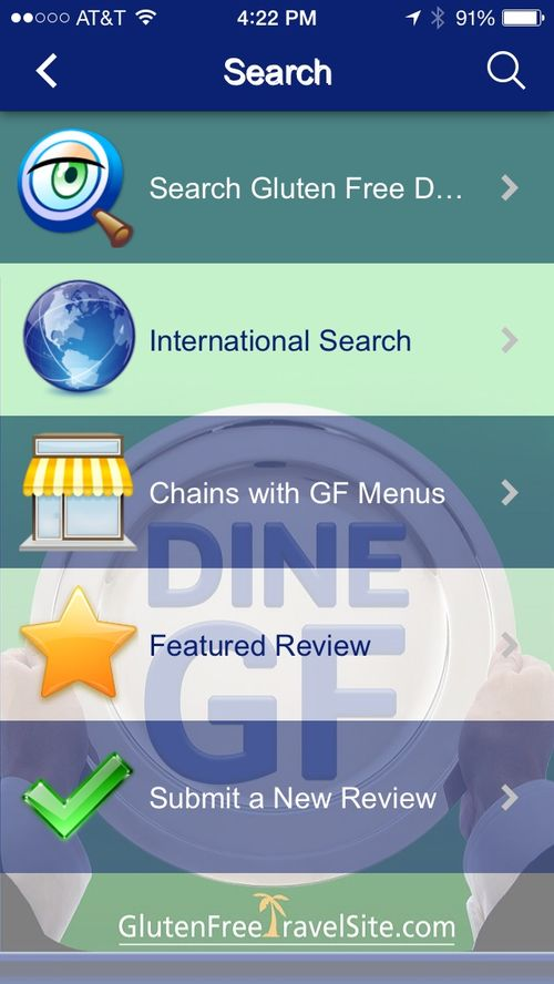 Dine GF Search Menu