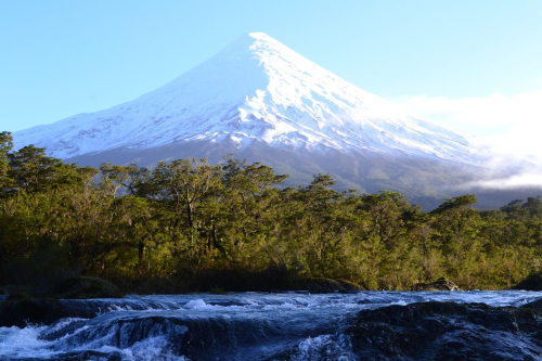 Petrohue Fall and Osorno Volcano