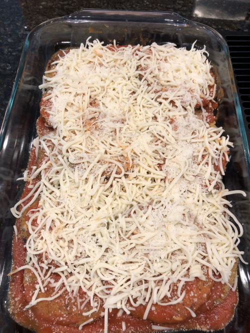 Eggplant parmesan ready to cook