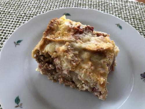 Piece of gluten free Italain strata